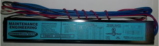 Picture of Fluorescent T8 Ballast 2 or 3 Lamps F32 Instant Start 332IE MV 10THD CEE 3-LAMP