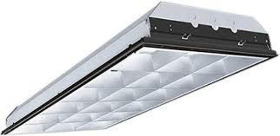 Picture of Fluorescent 2'x4' Recessed Paracube Fixture 30YR Electronic Instant Start Ballast 3 Lamp F32T8 3-F32 REC PARAB 30 YR EC