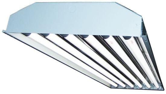 Picture of Fluorescent 4' Highbay Fixture 20YR Hybrid Program-Start Ballast 8 Lamp F32T8 8-F32T8