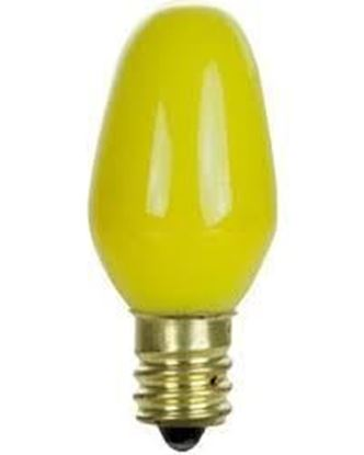 Picture of Light Bulbs Incandescents C7 7.5W Yellow Candelabra Colored Lamps 7 1 2C7 YEL CER CAN 6ML
