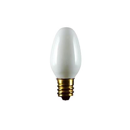 Picture of Light Bulbs Incandescents C7 7.5W White Candelabra Colored Lamps 7 1 2C7 WHT CER CAN 6ML