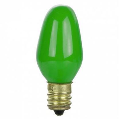 Picture of Light Bulbs Incandescents C7 7.5W Green Candelabra Colored Lamps 7 1 2C7 GRN CER CAN 6ML